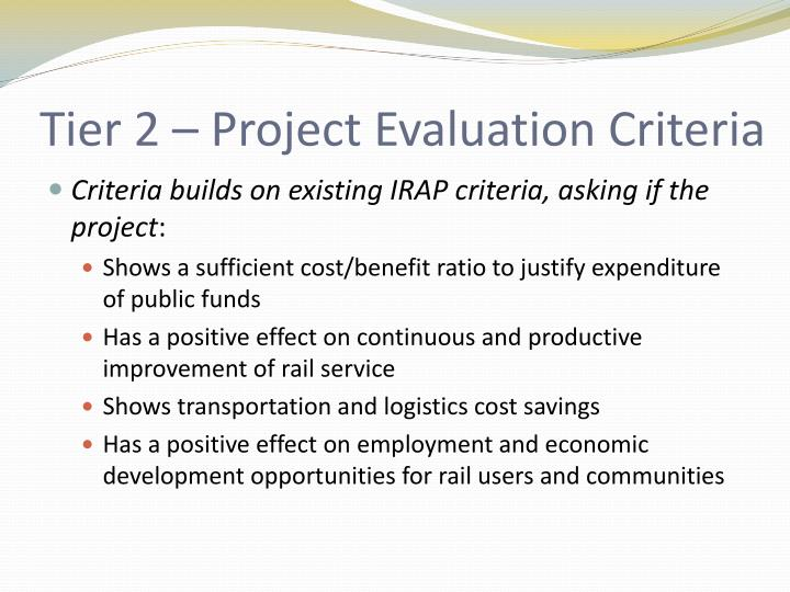 Tier 2 – Project Evaluation Criteria