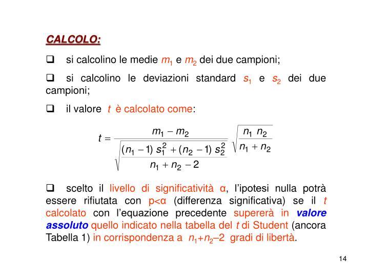 CALCOLO: