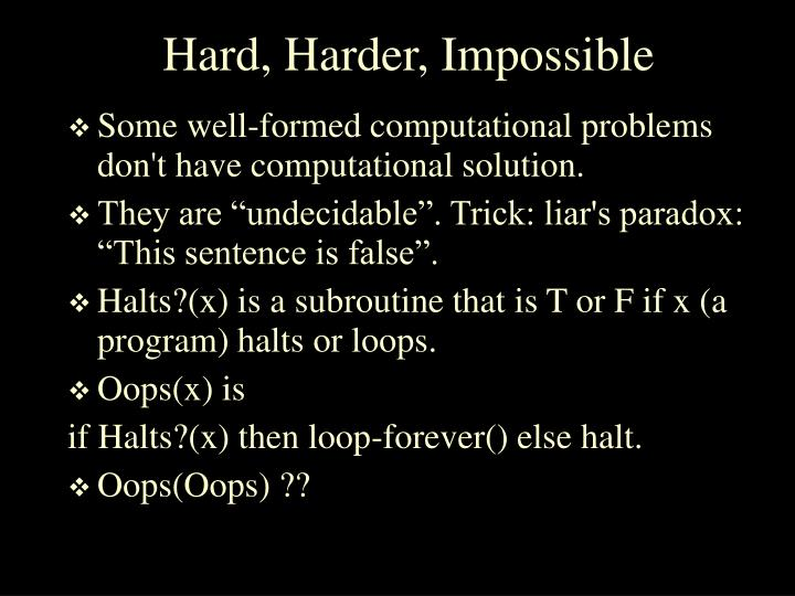 Hard, Harder, Impossible