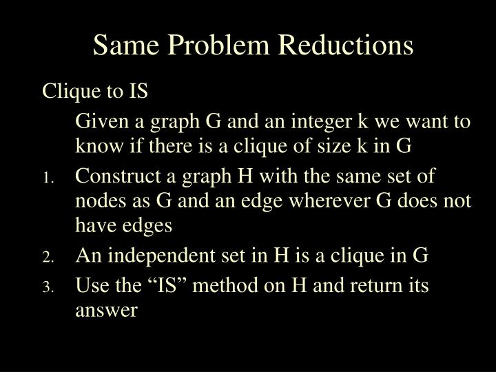 Same Problem Reductions