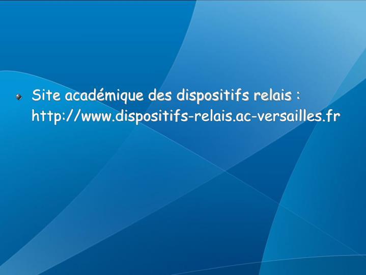 Site académique des dispositifs relais : http://www.dispositifs-relais.ac-versailles.fr