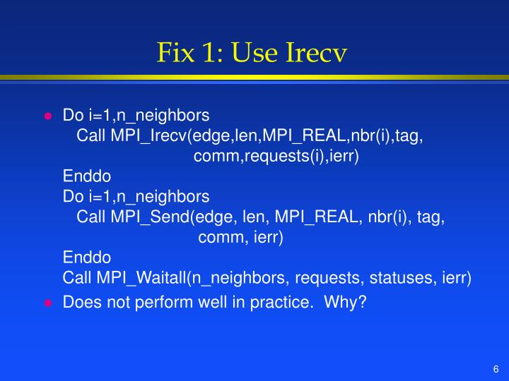 Fix 1: Use Irecv