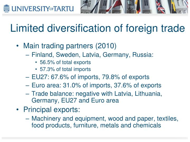 Limited diversification of foreign trade