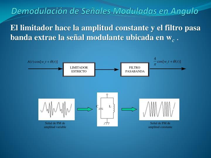 El limitador hace la amplitud constante y el filtro pasa banda extrae la señal modulante ubicada en w