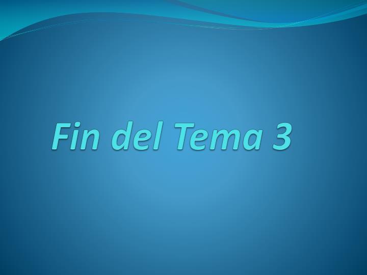 Fin del Tema 3