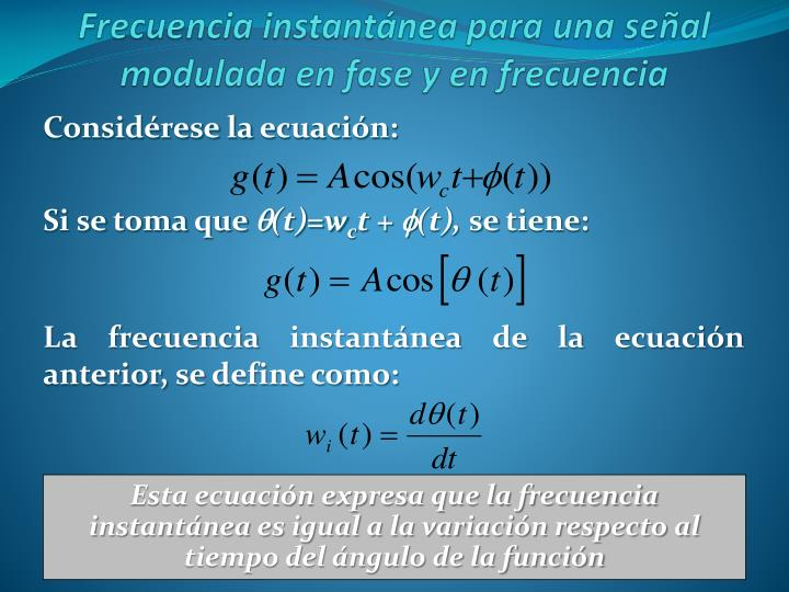 Frecuencia instantánea para una señal modulada en fase y en frecuencia