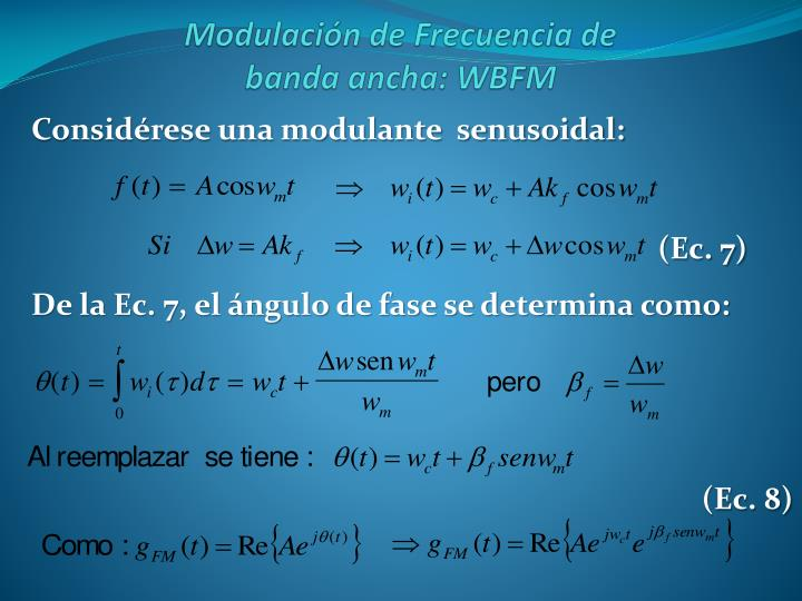 Considérese una modulante  senusoidal: