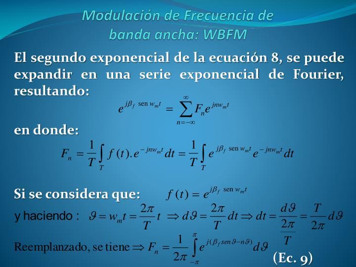 El segundo exponencial de la ecuación 8, se puede expandir en una serie exponencial de Fourier, resultando: