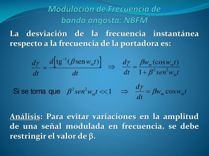 La desviación de la frecuencia instantánea respecto a la frecuencia de la portadora es: