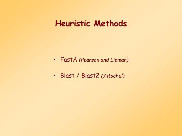 Heuristic Methods