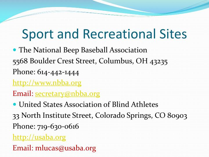 Sport and Recreational Sites