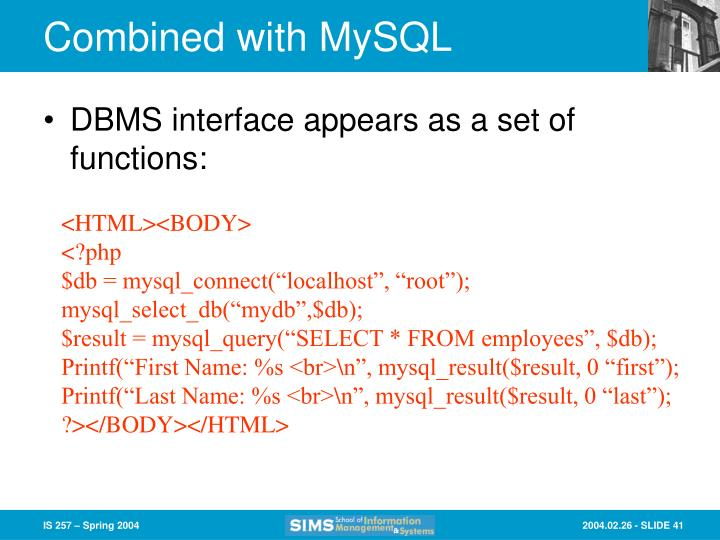 Combined with MySQL