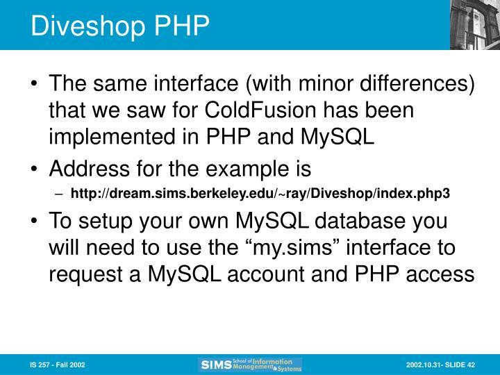 Diveshop PHP