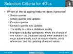 selection criteria for 4gls1