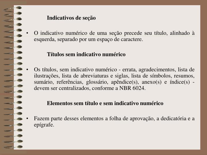 Indicativos de seção