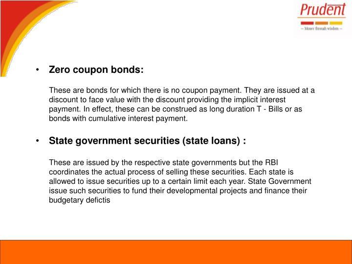 Zero coupon bonds: