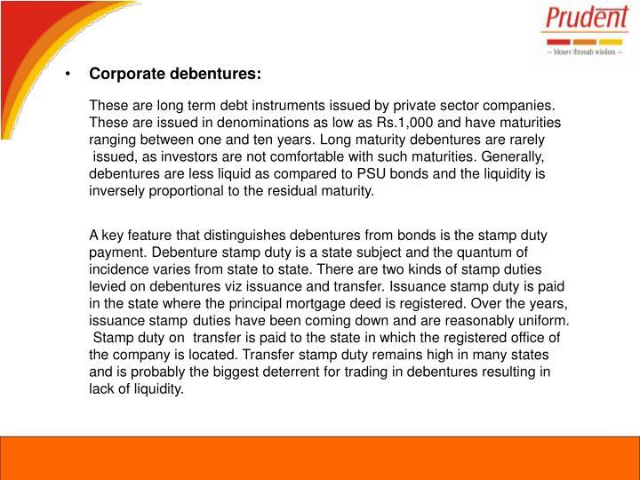 Corporate debentures: