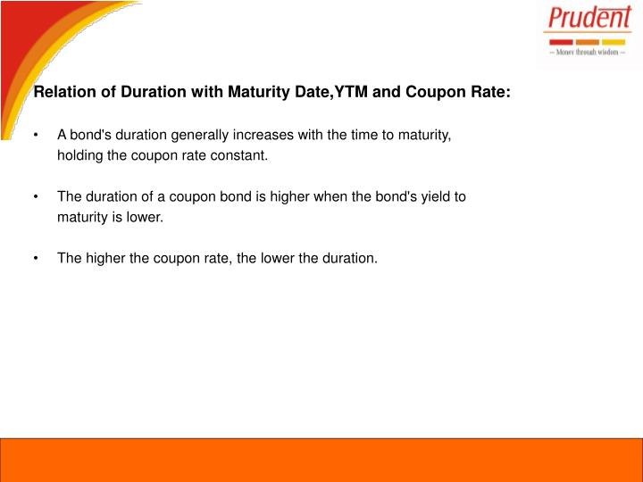 Relation of Duration with Maturity Date,YTM and Coupon Rate: