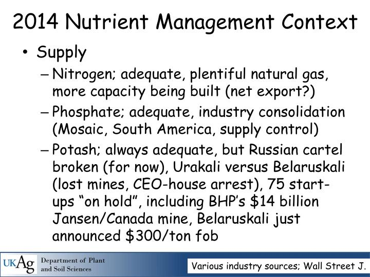 2014 nutrient management context