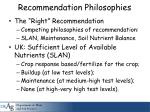 recommendation philosophies