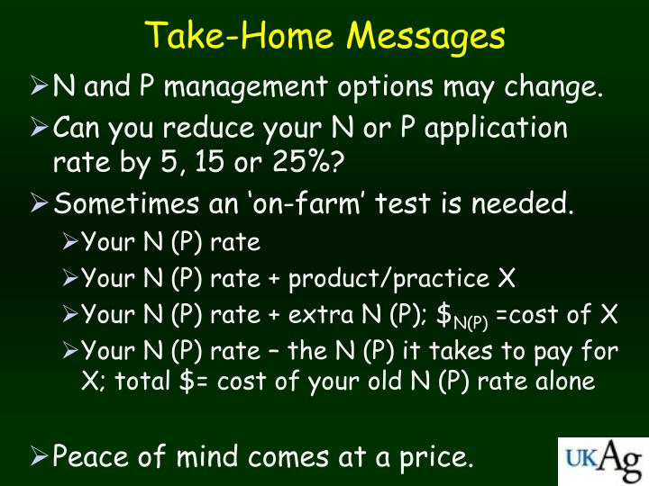 N and P management options may change.