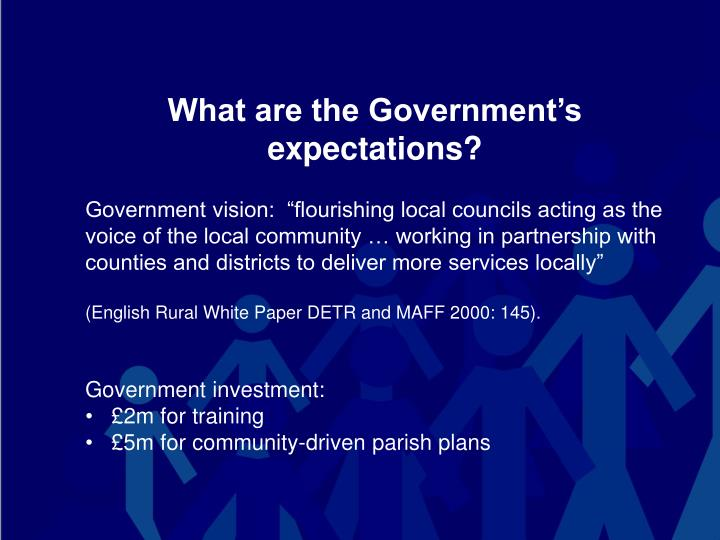 What are the Government's expectations?