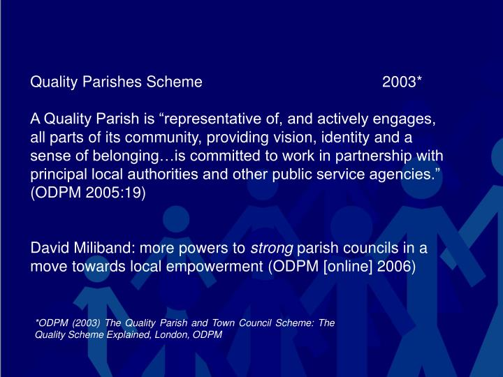 Quality Parishes Scheme 2003*