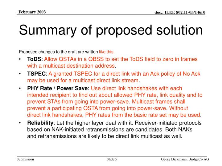 Summary of proposed solution
