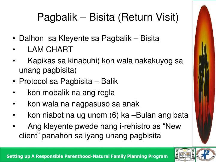 Pagbalik – Bisita (Return Visit)