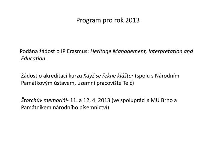 Program pro rok 2013