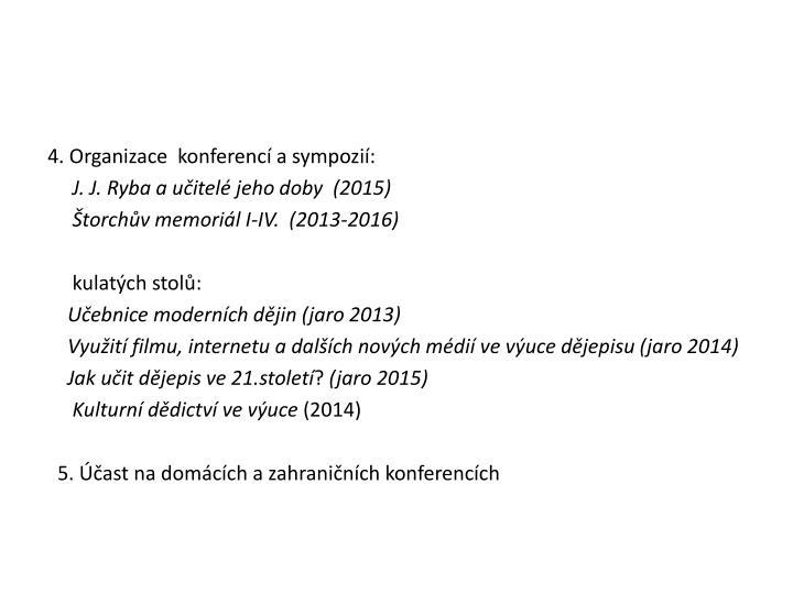 4. Organizace  konferencí a sympozií: