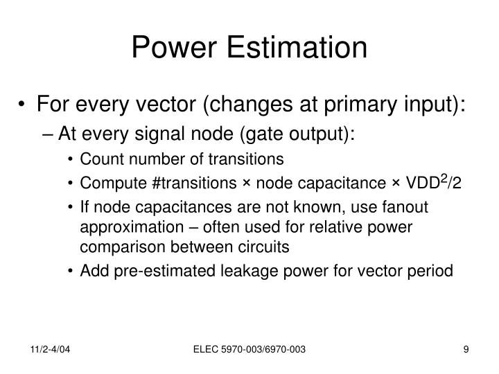 Power Estimation