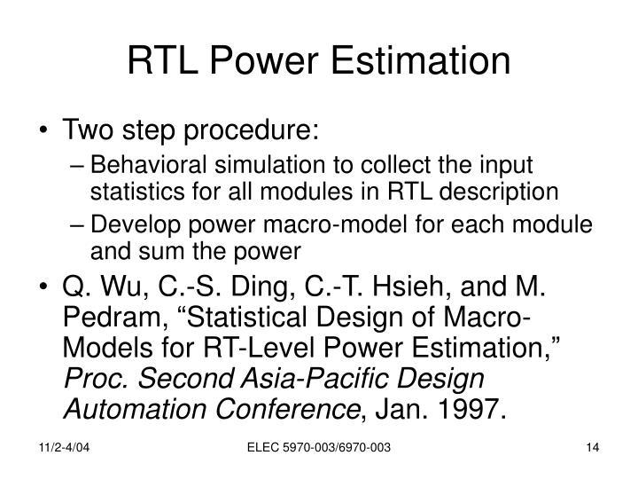 RTL Power Estimation