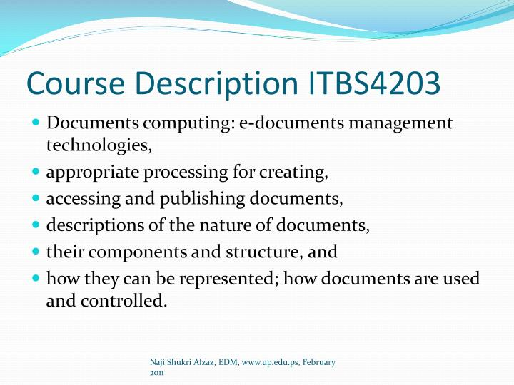 Course Description ITBS4203