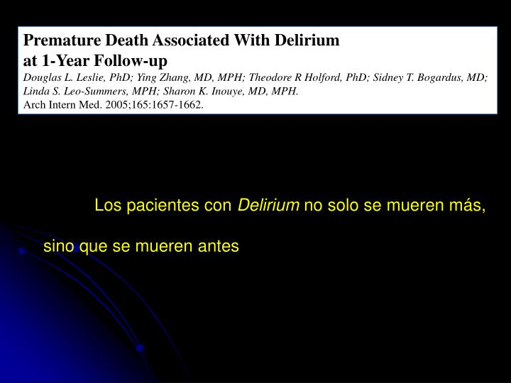 Premature Death Associated With Delirium