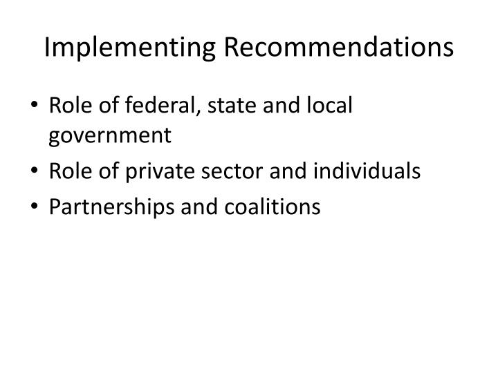 Implementing Recommendations