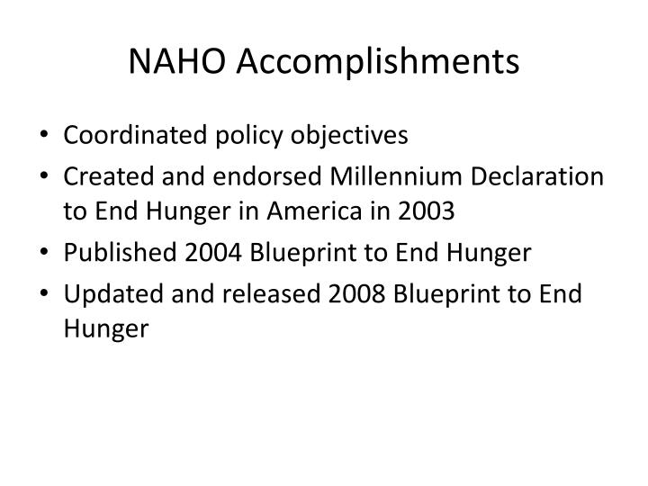 Naho accomplishments
