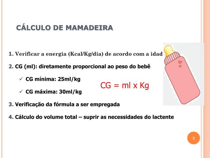 CÁLCULO DE MAMADEIRA