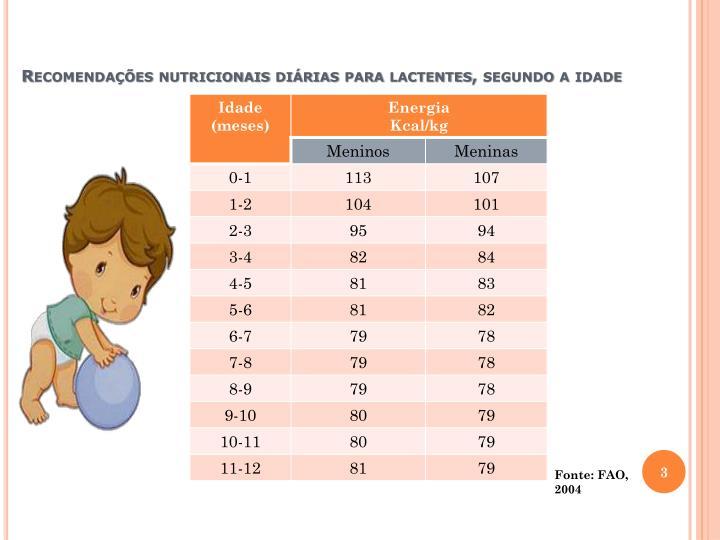 Recomendações nutricionais diárias para lactentes, segundo a idade