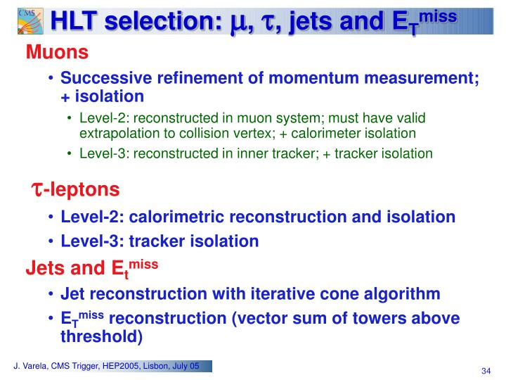 HLT selection: