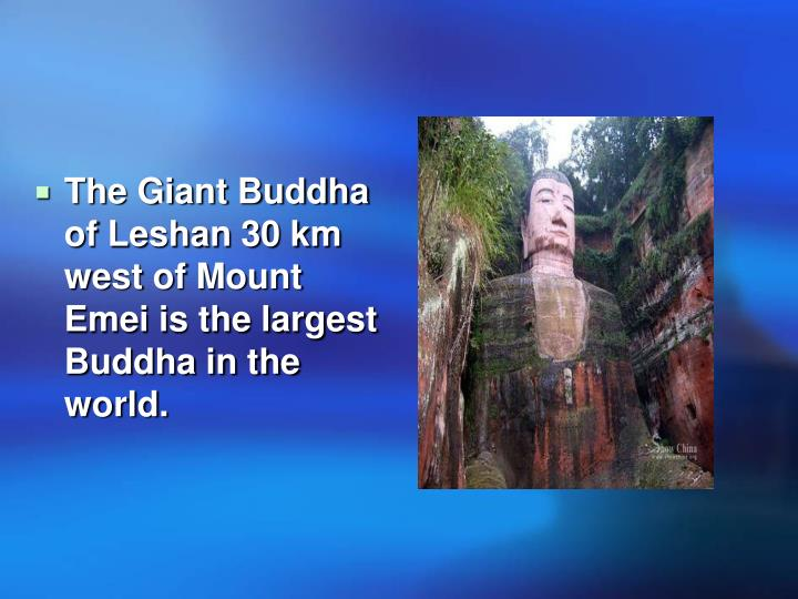 The Giant Buddha of Leshan 30 km west of Mount Emei is the largest Buddha in the world.
