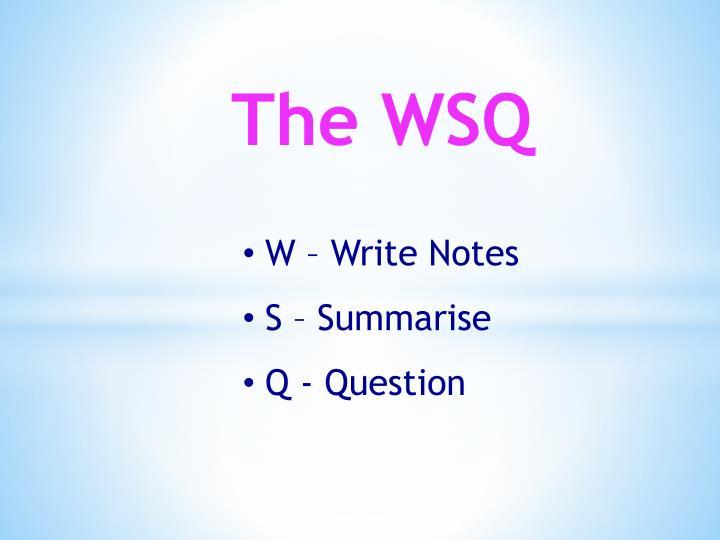 The WSQ