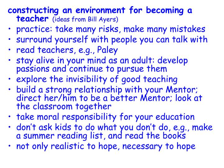 constructing an environment for becoming a teacher