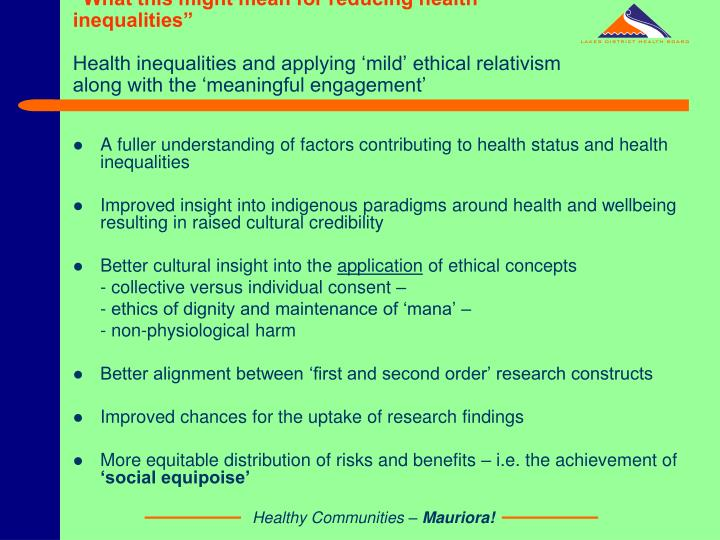 """What this might mean for reducing health inequalities"""