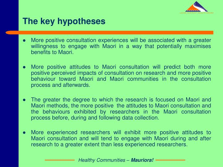 The key hypotheses