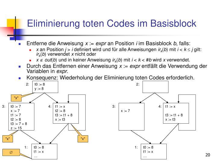 Eliminierung toten Codes im Basisblock