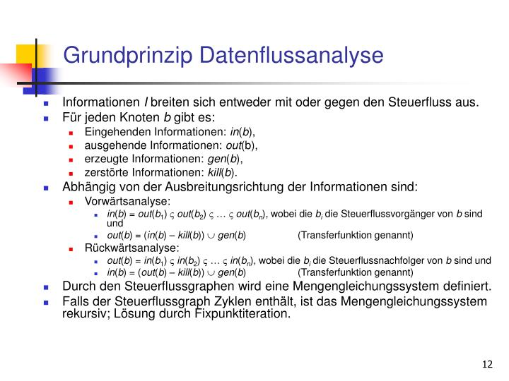 Grundprinzip Datenflussanalyse