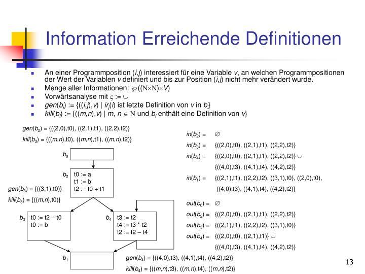 Information Erreichende Definitionen