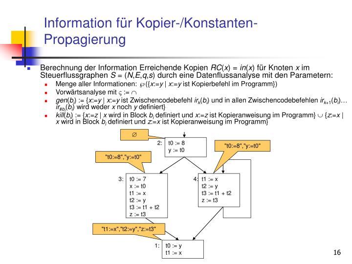 Information für Kopier-/Konstanten-Propagierung