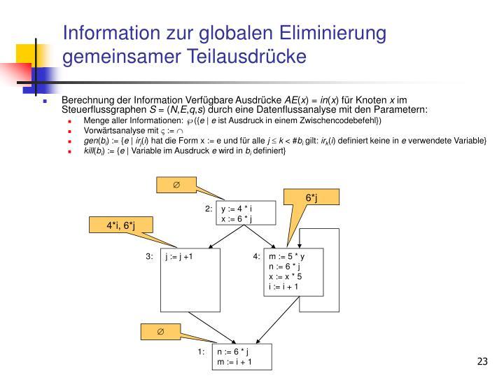 Information zur globalen Eliminierung gemeinsamer Teilausdrücke